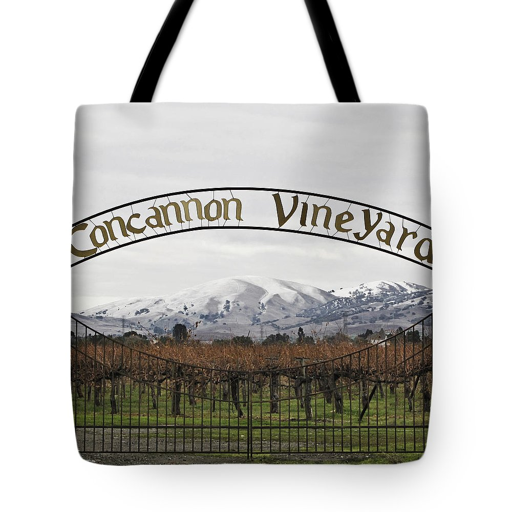 Landscape Tote Bag featuring the photograph Vineyard Under Snow by Karen W Meyer