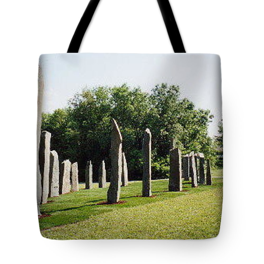 Historic Sculpture From 1999 Tote Bag featuring the sculpture Vinland by Jarle Rosseland