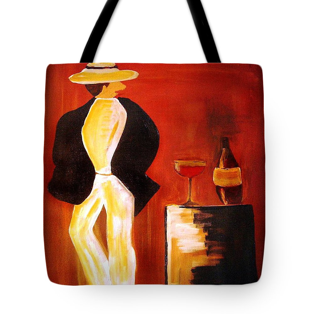 Italian Tote Bag featuring the mixed media Vinorosso by Helmut Rottler