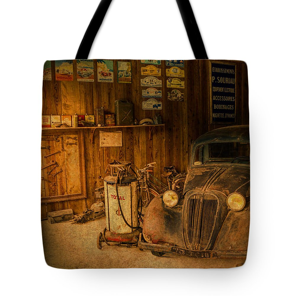 Vintage Auto Repair Garage With Truck And Signs Tote Bag for Sale ...