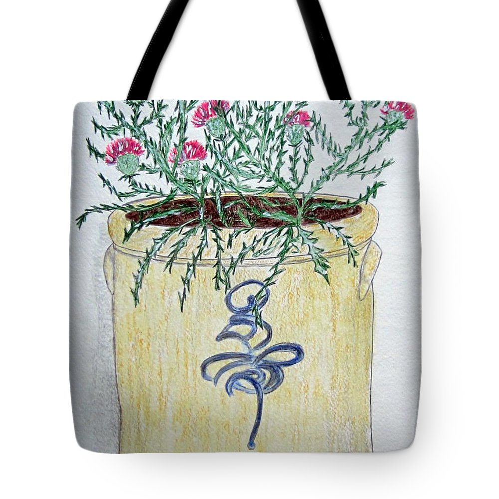 Vintage Tote Bag featuring the painting Vintage Bee Sting Crock And Thistles by Kathy Marrs Chandler