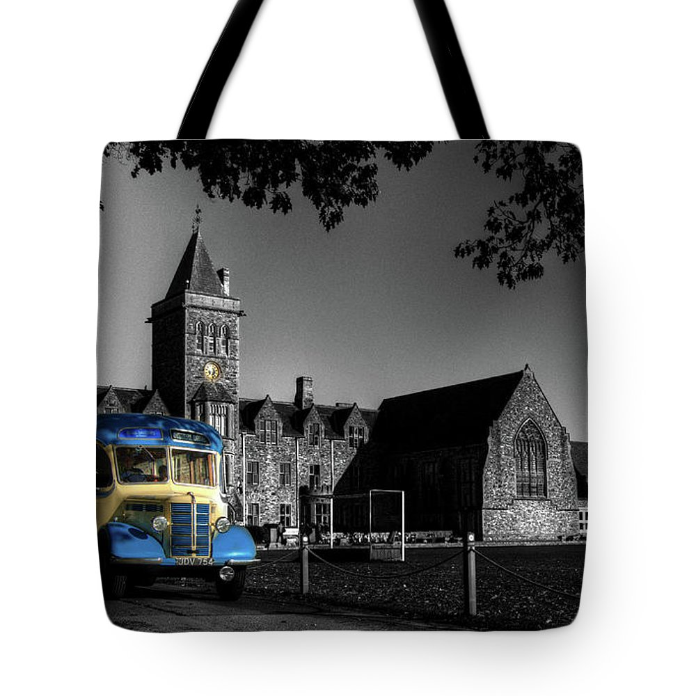 Bus Tote Bag featuring the photograph Vintage Bus At Taunton School by Rob Hawkins