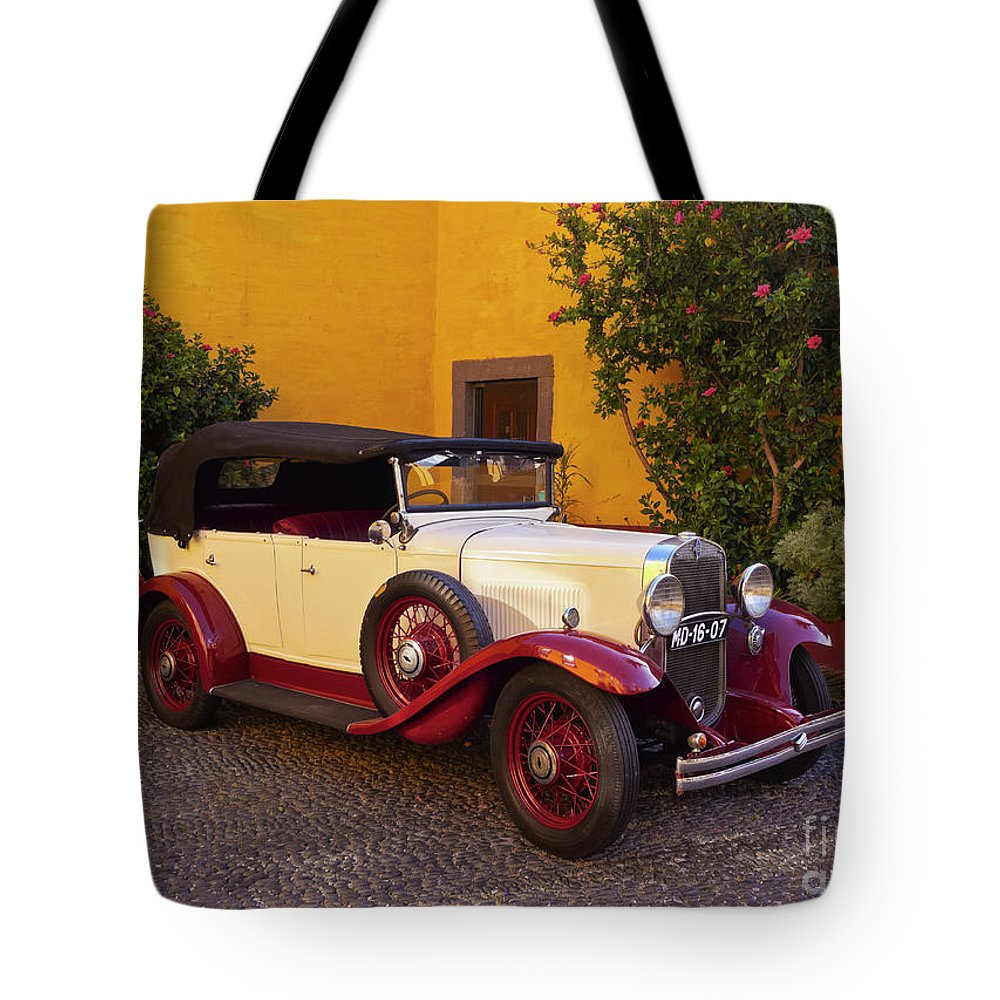 Portugal Tote Bag featuring the photograph Vintage Car In Funchal, Madeira by Karol Kozlowski