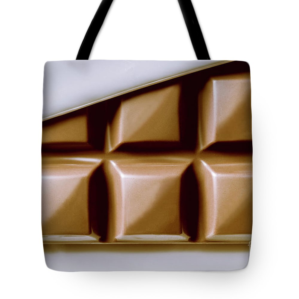 Macro Tote Bag featuring the photograph Vintage Chocolate Block Macro by Jorgo Photography - Wall Art Gallery