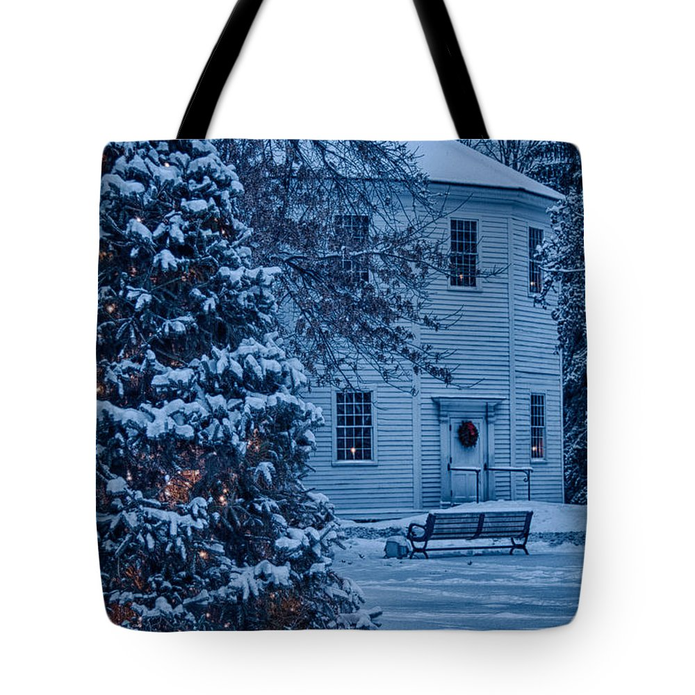#jefffolger #vistaphotography Tote Bag featuring the photograph Vintage Christmas Church In Vermont by Jeff Folger