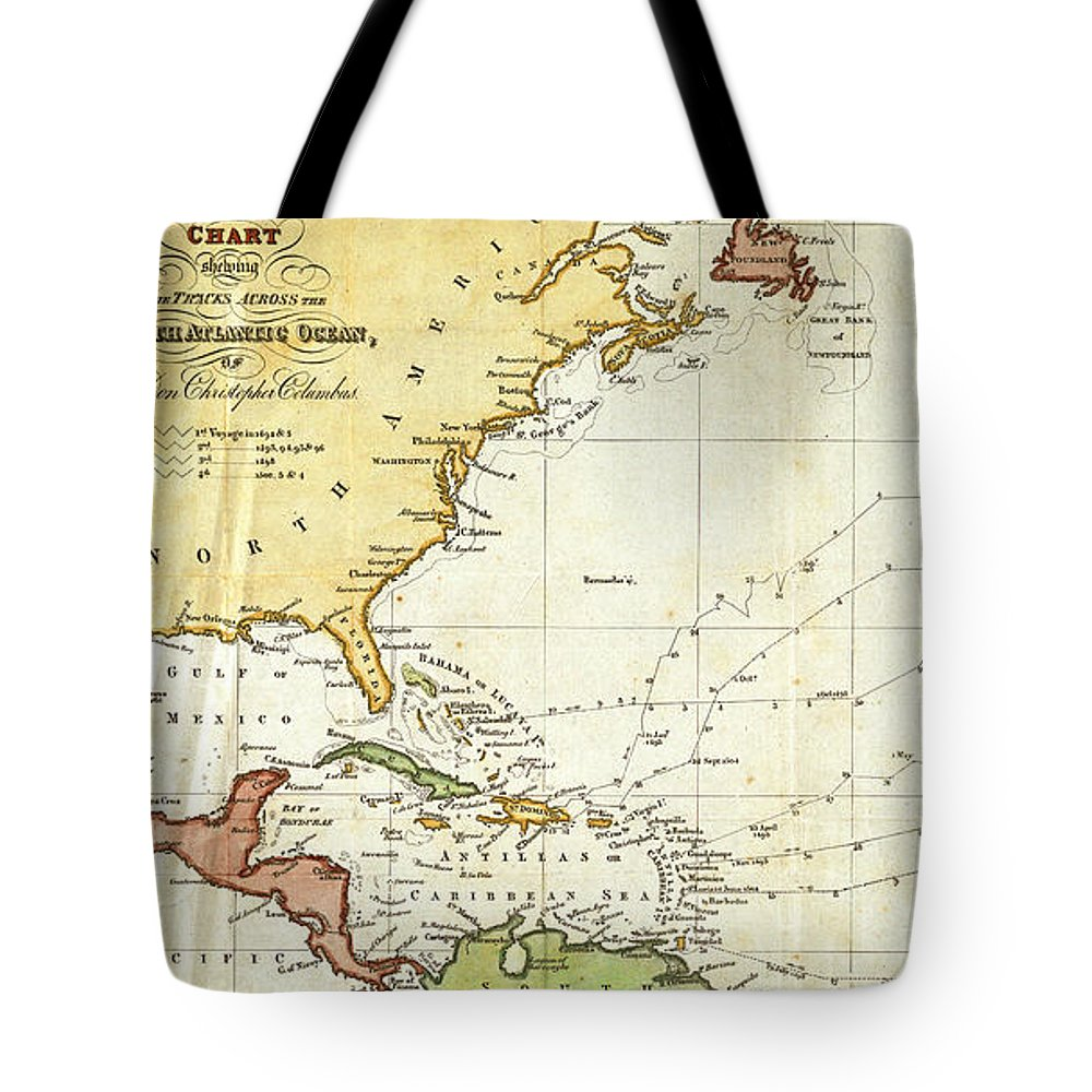 01dd45c0 Christopher Columbus Tote Bag featuring the drawing Vintage Christopher  Columbus Voyage Map by CartographyAssociates