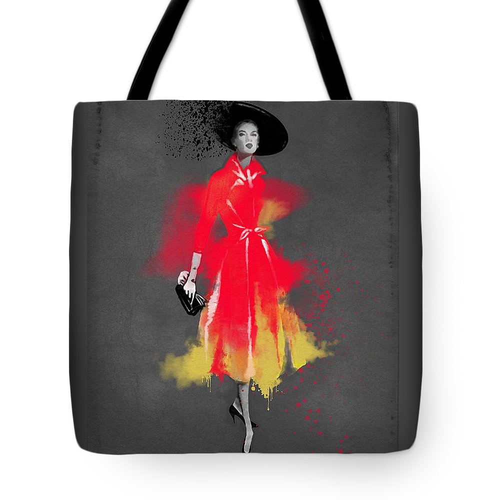 Fashion Art Tote Bag featuring the painting Vintage Coat Dress - By Diana Van by Diana Van