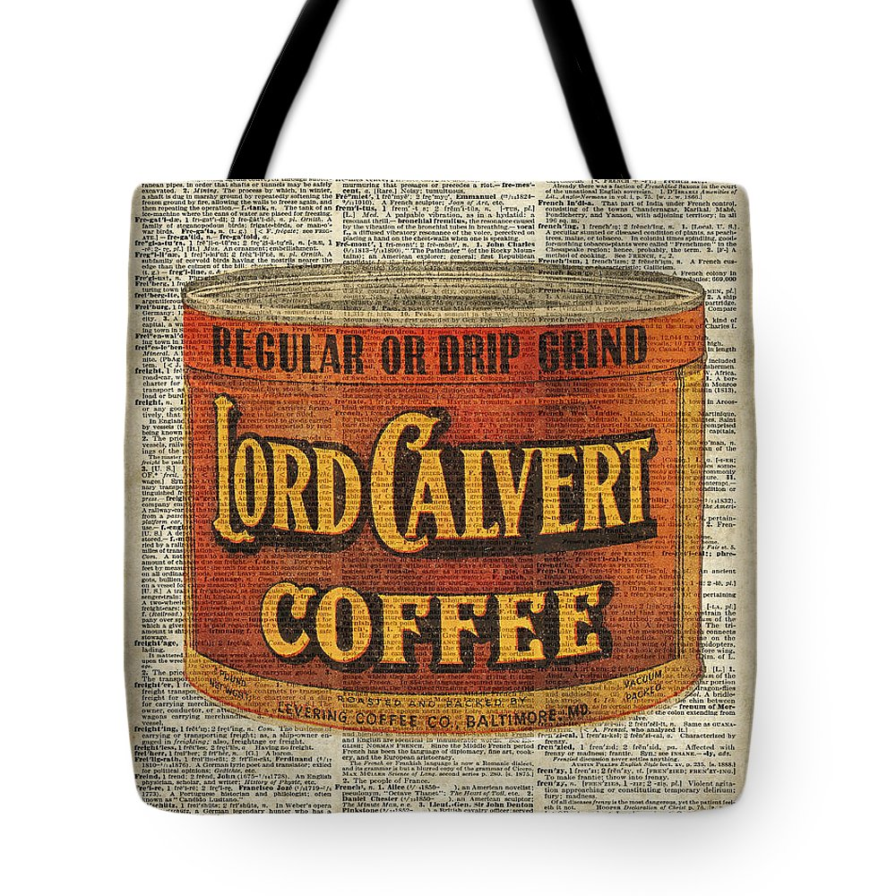 Vintage Coffee On Dictionary Page Tote Bag featuring the digital art Vintage Coffee On Dictionary Page by Anna W