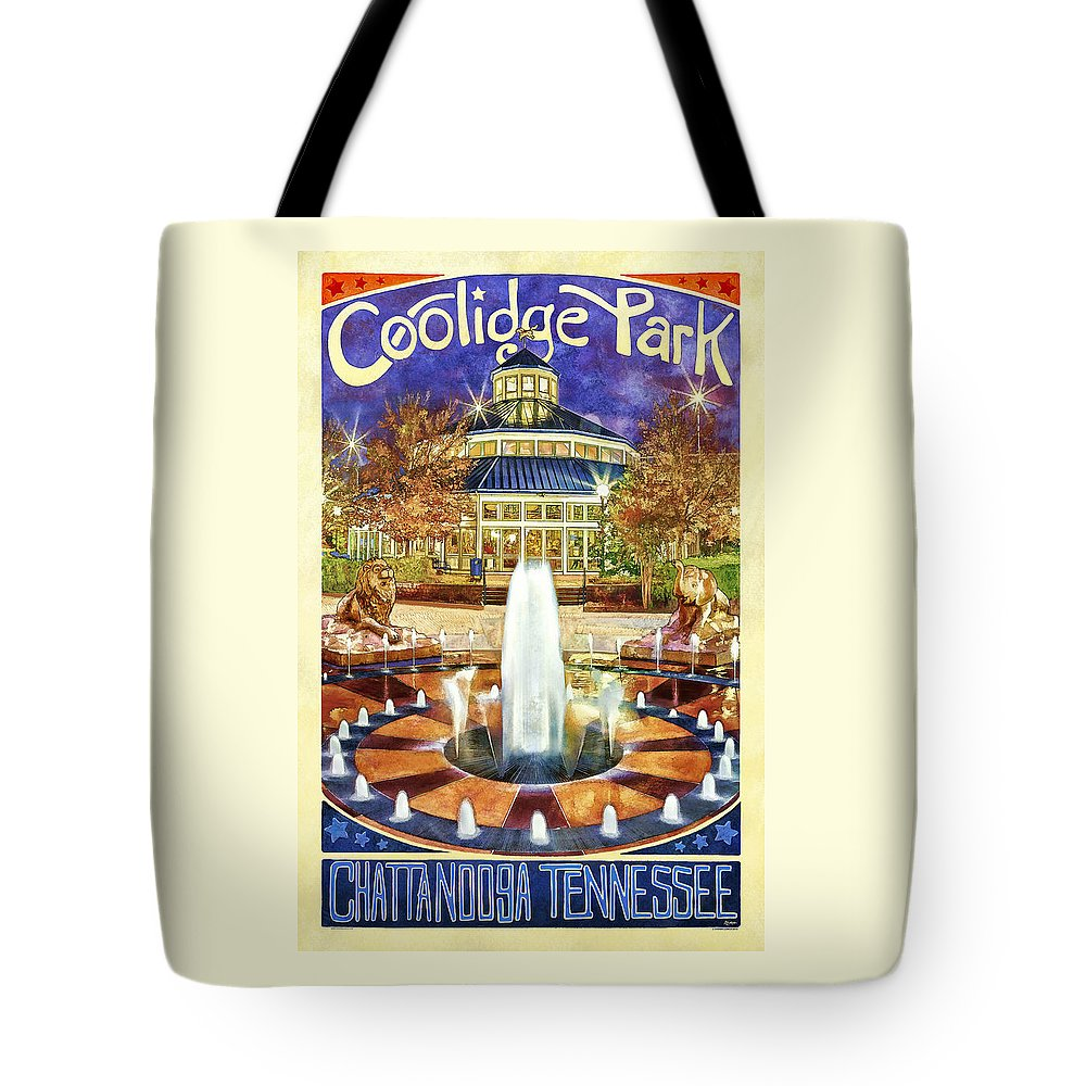 Chattanooga Tote Bag featuring the photograph Vintage Coolidge Park Poster by Steven Llorca