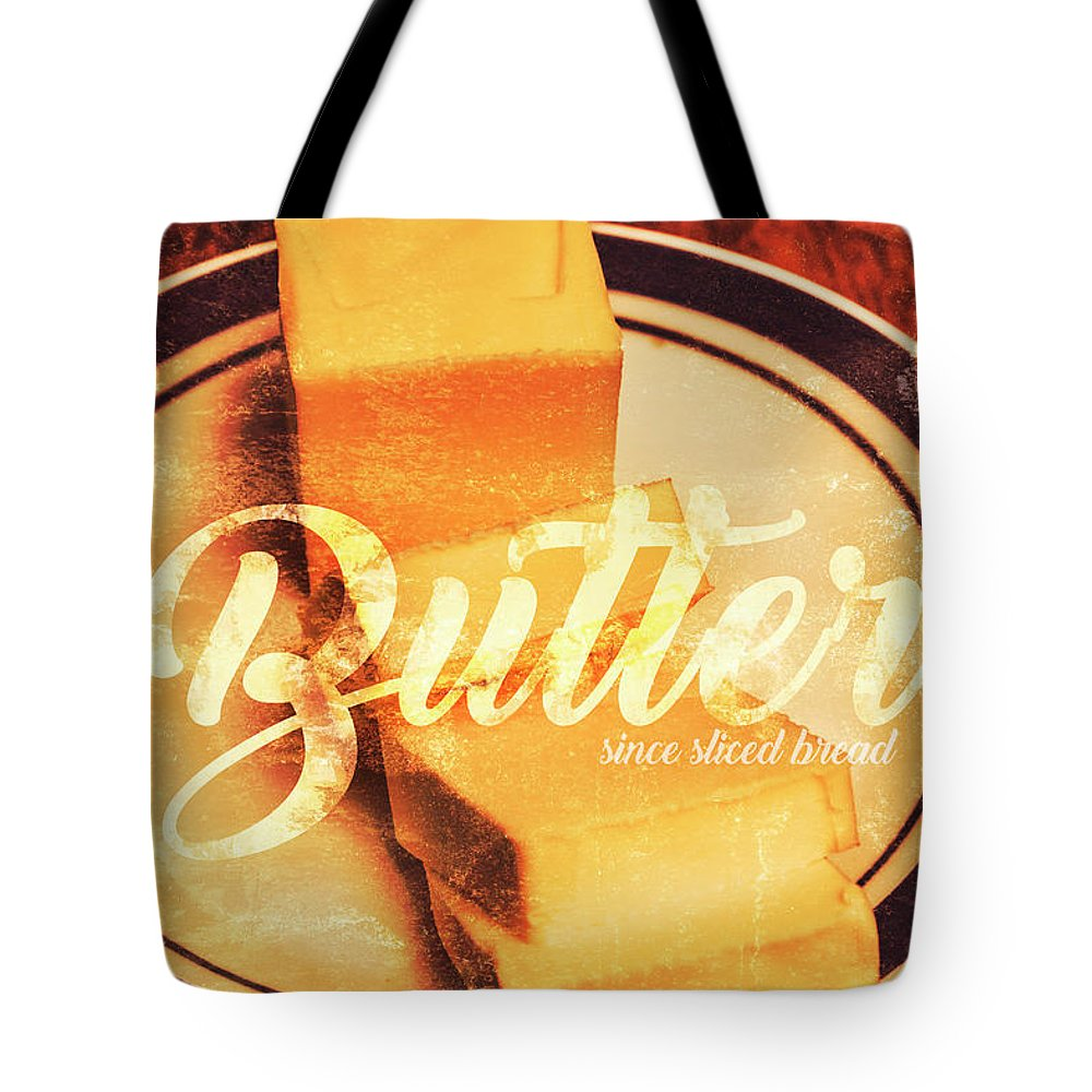 Dairy Tote Bag featuring the photograph Vintage Dairy Product Advertisement by Jorgo Photography - Wall Art Gallery