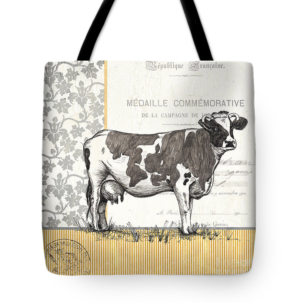 Cow Tote Bag featuring the painting Vintage Farm 4 by Debbie DeWitt