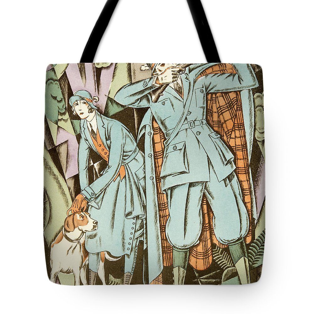 Hunter Tote Bag featuring the painting Vintage Fashion Plate Twenties Sporting Outfits by German School