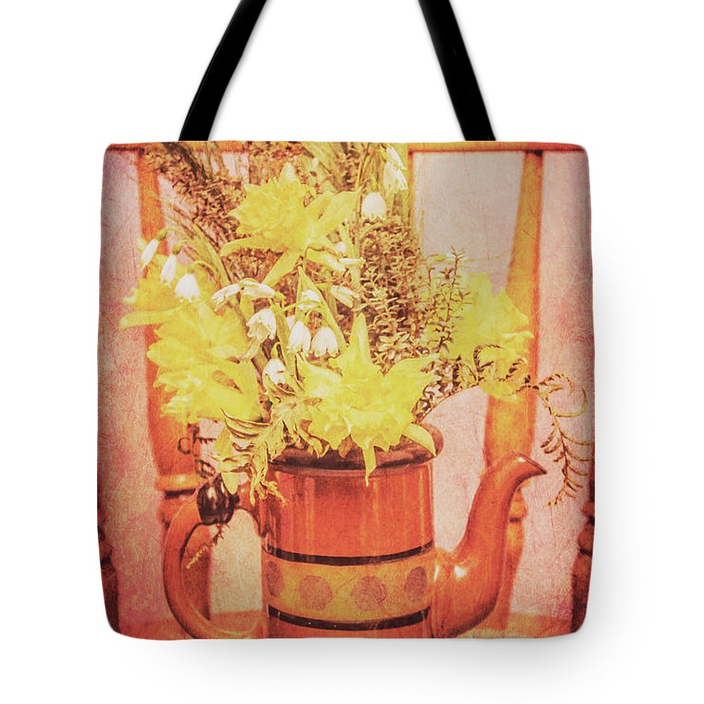 Aged Tote Bag featuring the photograph Vintage Fine Art Still Life With Daffodils by Jorgo Photography - Wall Art Gallery
