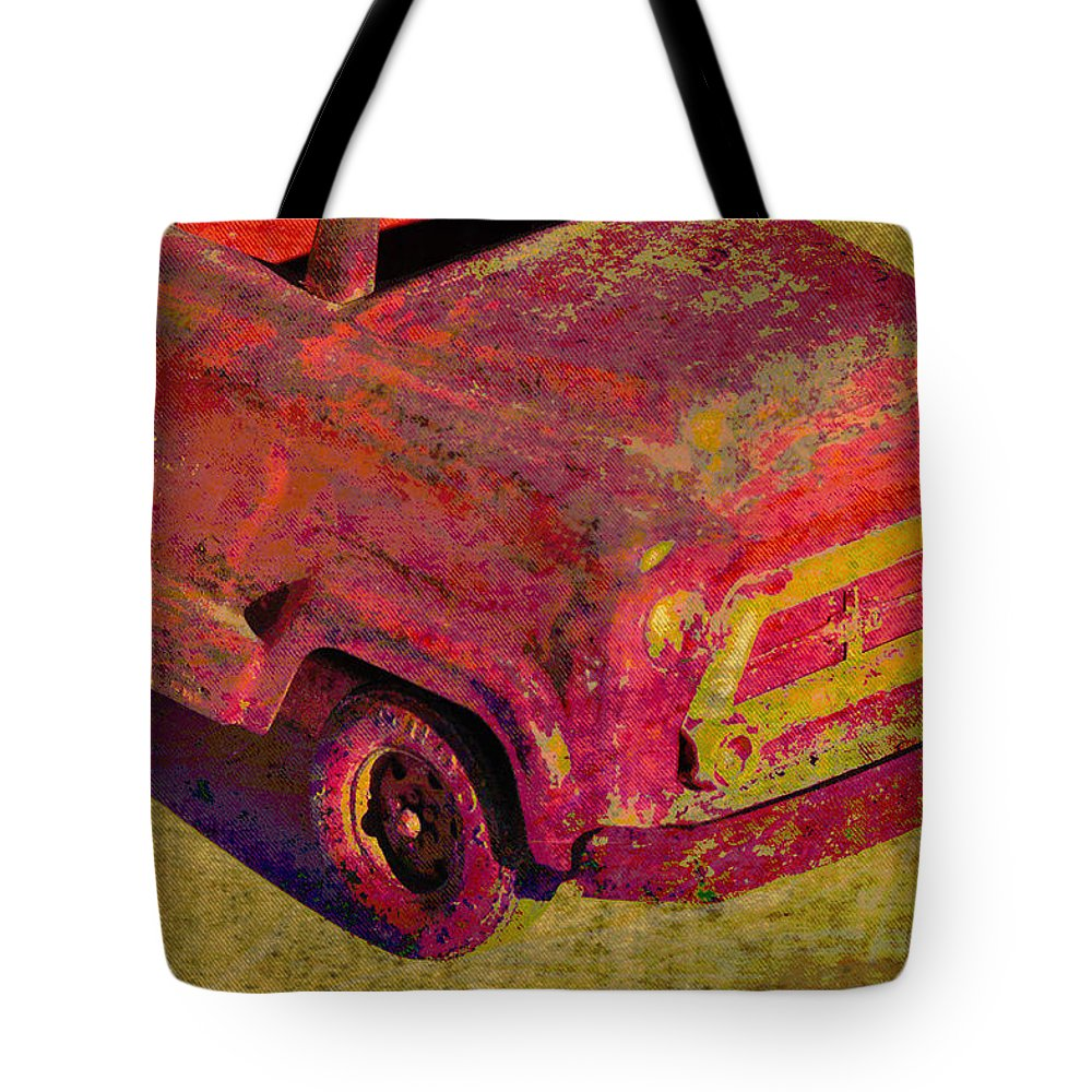 Abstracts Tote Bag featuring the photograph Vintage Firetruck by Jan Amiss Photography