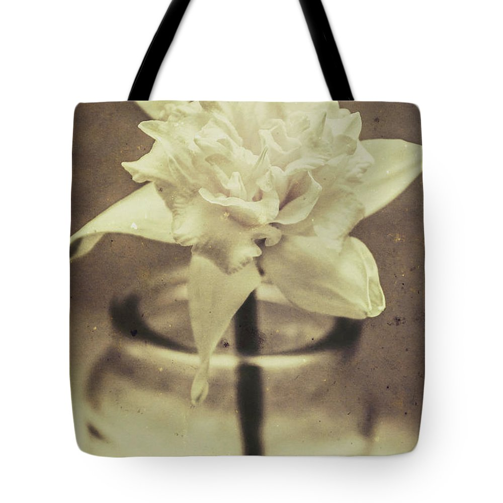 Antique Tote Bag featuring the photograph Vintage Floral Still Life Of A Pure White Bloom by Jorgo Photography - Wall Art Gallery