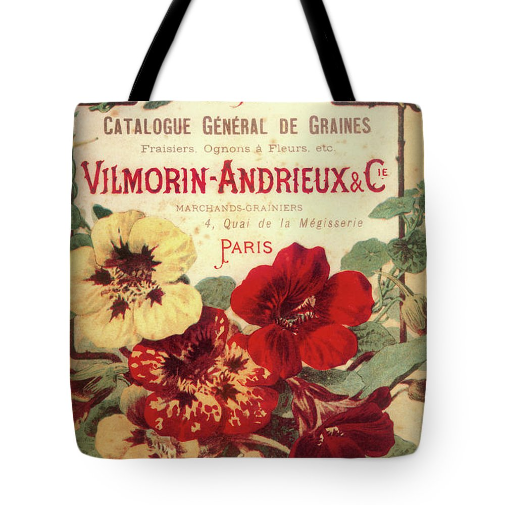 Flowers Tote Bag featuring the painting Vintage Flower Seed Cover Paris Rare by Mindy Sommers