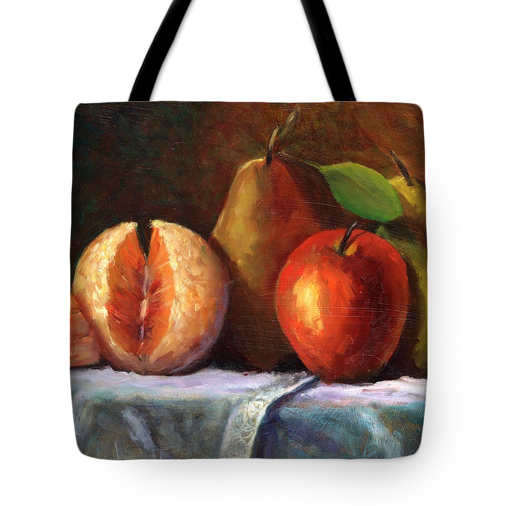 Fruit Painting Tote Bag featuring the painting Vintage-fruit by Linda Hiller