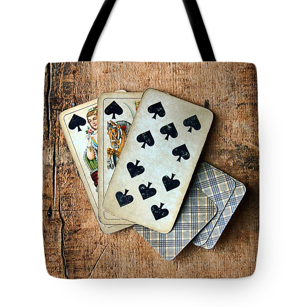Vintage Tote Bag featuring the photograph Vintage Hand Of Cards by Jill Battaglia
