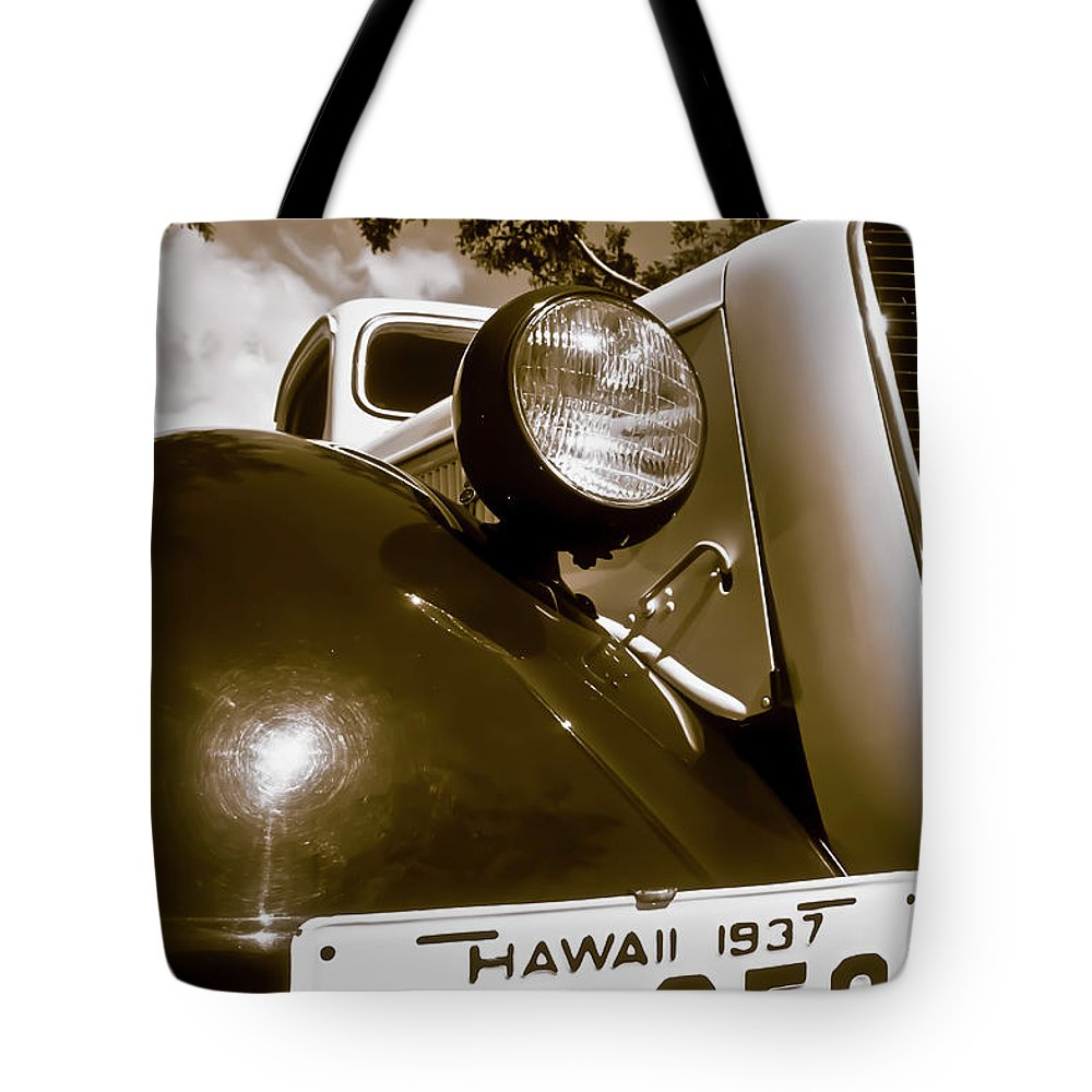 1937 Ford Tote Bag featuring the photograph 1937 Ford Pickup Truck Maui Hawaii by Jim Cazel