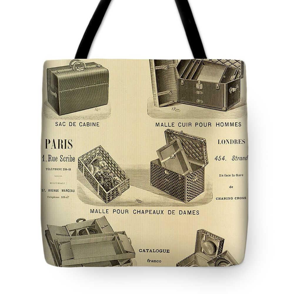 6f30ed35fab4 1898 Tote Bag featuring the photograph Vintage Louis Vuitton Advertisement  - 1898 by Mountain Dreams