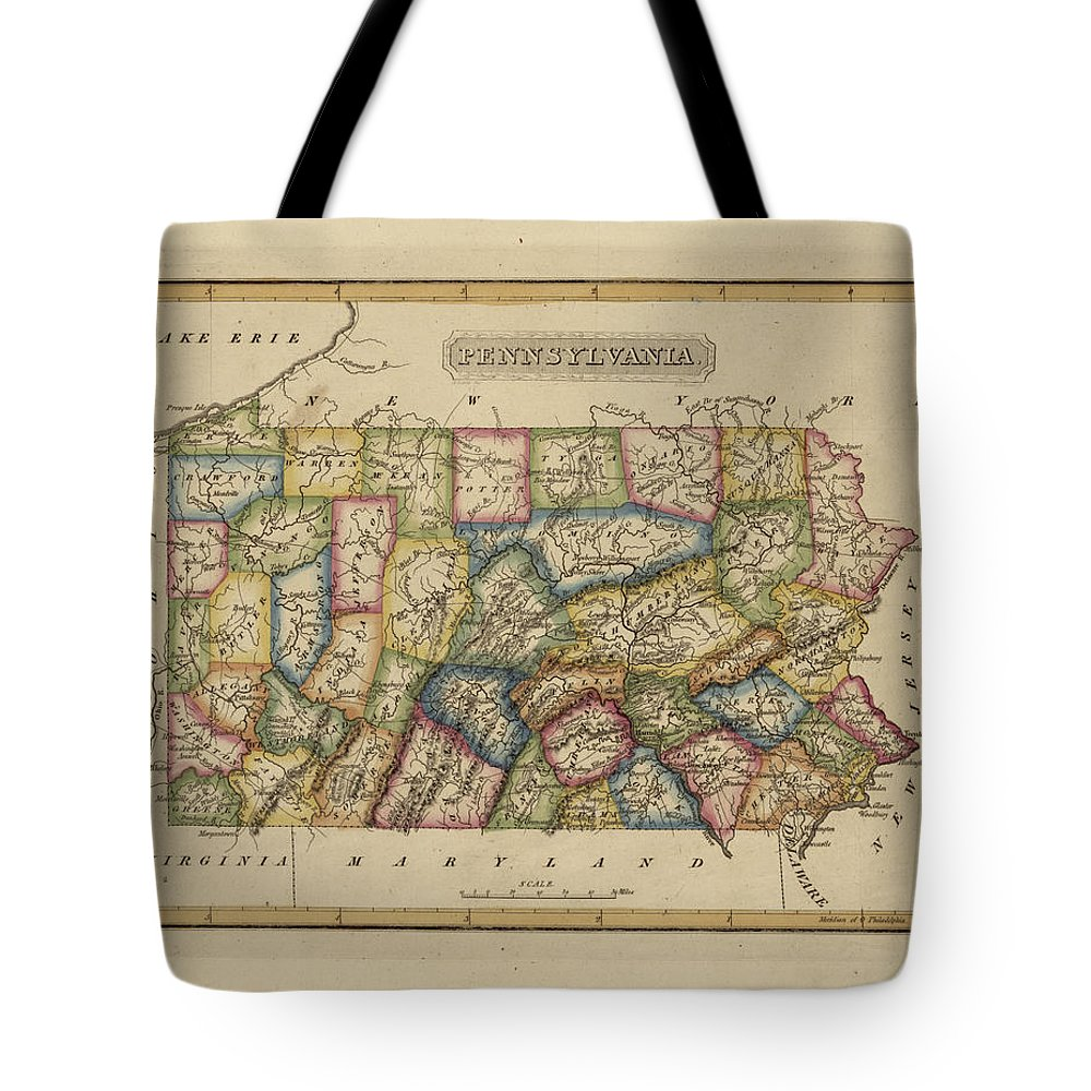 19th Century Tote Bag featuring the painting Antique Map Of Pennsylvania by Fielding Lucas