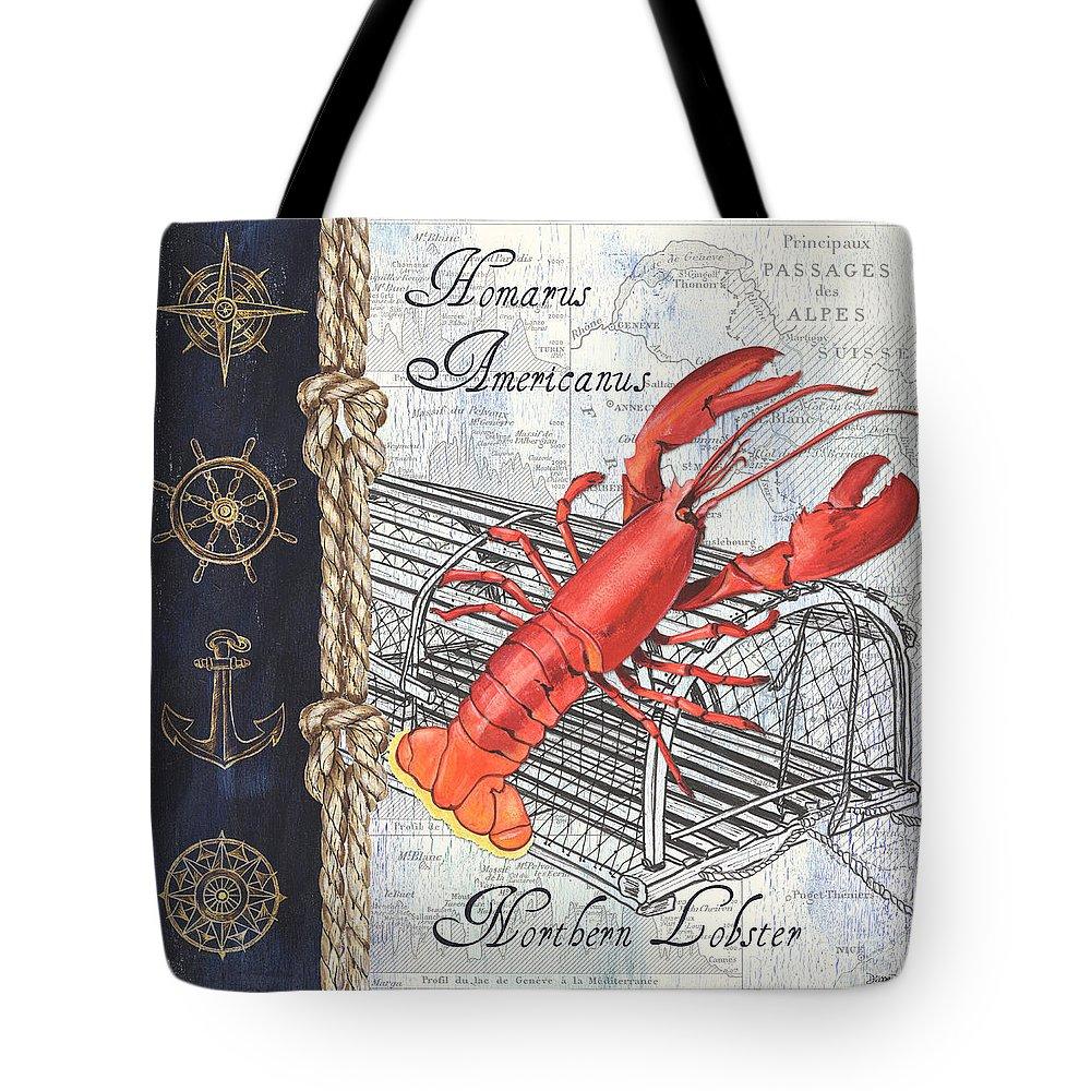 3b95387d38 Lobster Tote Bag featuring the painting Vintage Nautical Lobster by Debbie  DeWitt