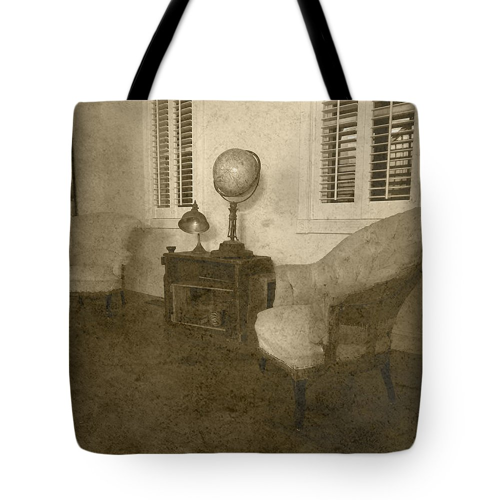Old Farm House Tote Bag featuring the photograph Vintage Photograph Farmhouse Interior by Reyna Bauer