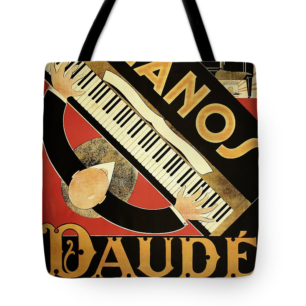 Vintage Tote Bag featuring the painting Vintage Piano Art Deco by Mindy Sommers
