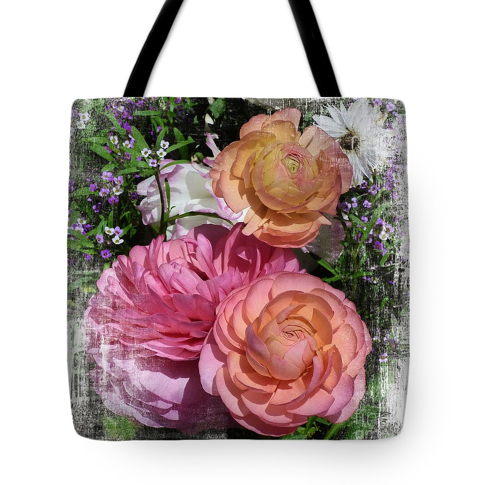 Vintage Ranunculus Tote Bag featuring the digital art Vintage Ranunculus by Trudee Hunter