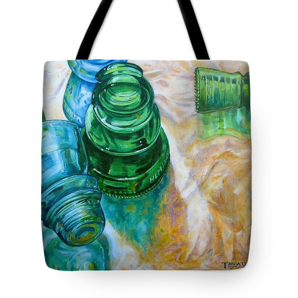 Glass Tote Bag featuring the painting Vintage Reflections by Tanja Ware