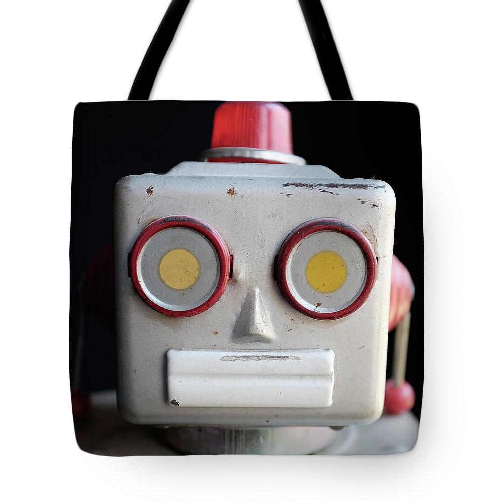 Robot Tote Bag featuring the photograph Vintage Robot Square by Edward Fielding