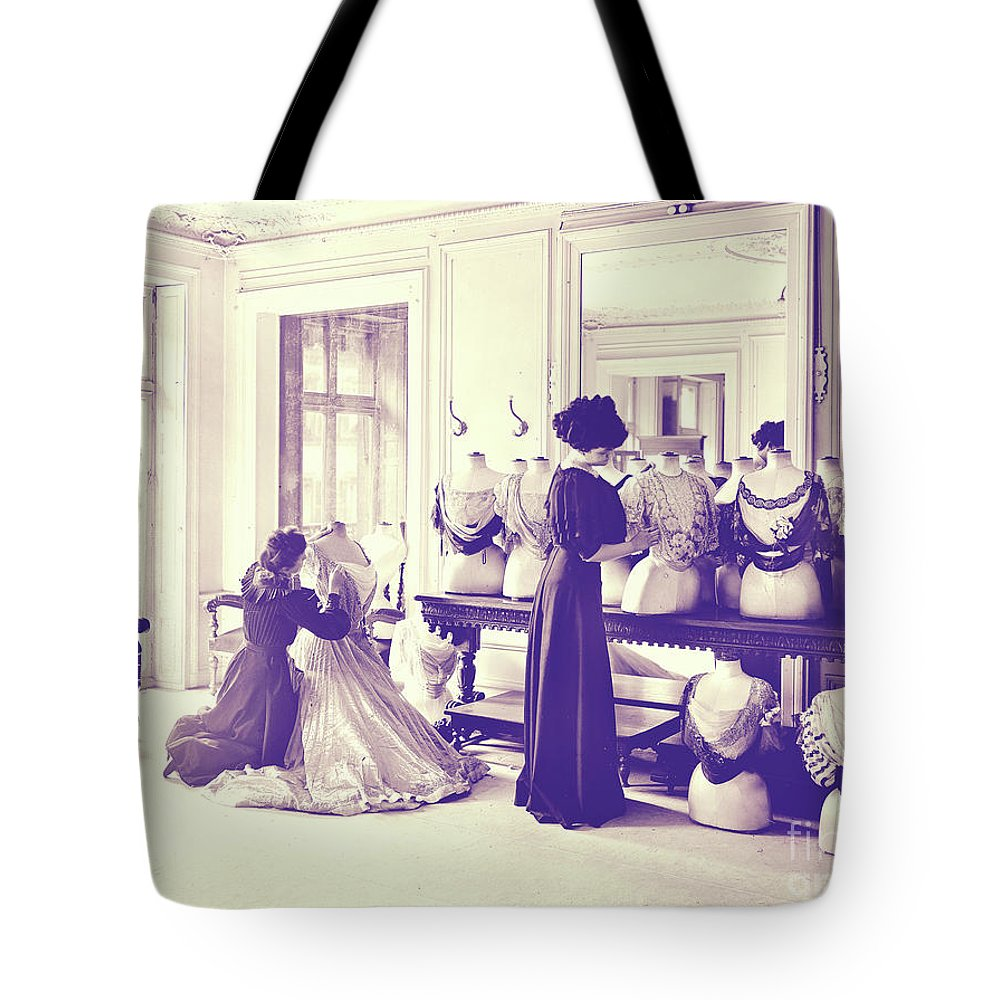 Vintage Seamstress Tote Bag featuring the painting Vintage Seamstress by Mindy Sommers