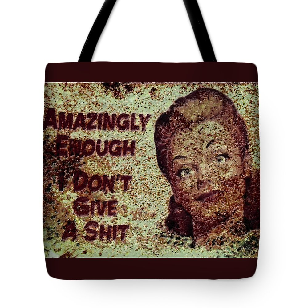 Rust Tote Bag featuring the mixed media Vintage Sign 2e by Brian Reaves