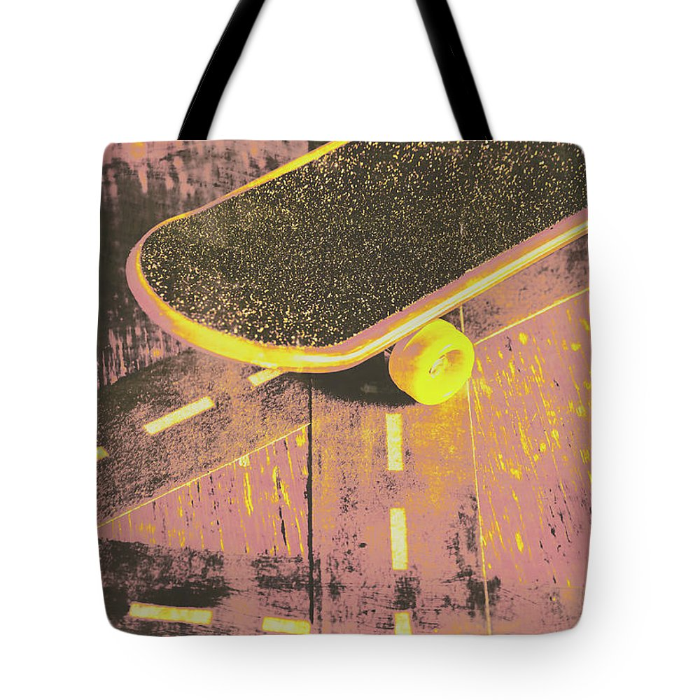 Skate Tote Bag featuring the photograph Vintage Skateboard Ruling The Road by Jorgo Photography - Wall Art Gallery