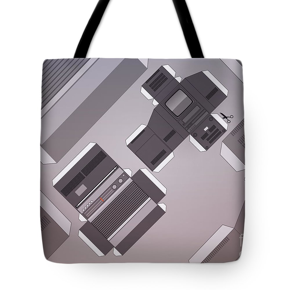 Tv Set Tote Bag featuring the digital art Vintage Streaming Devices Radio And Tv Retro Poster by Monkey Crisis On Mars
