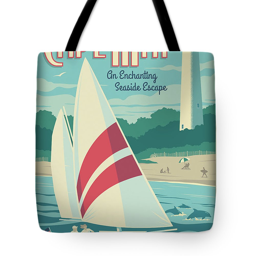 Cape May Tote Bag featuring the digital art Cape May Poster - Vintage Travel Lighthouse by Jim Zahniser