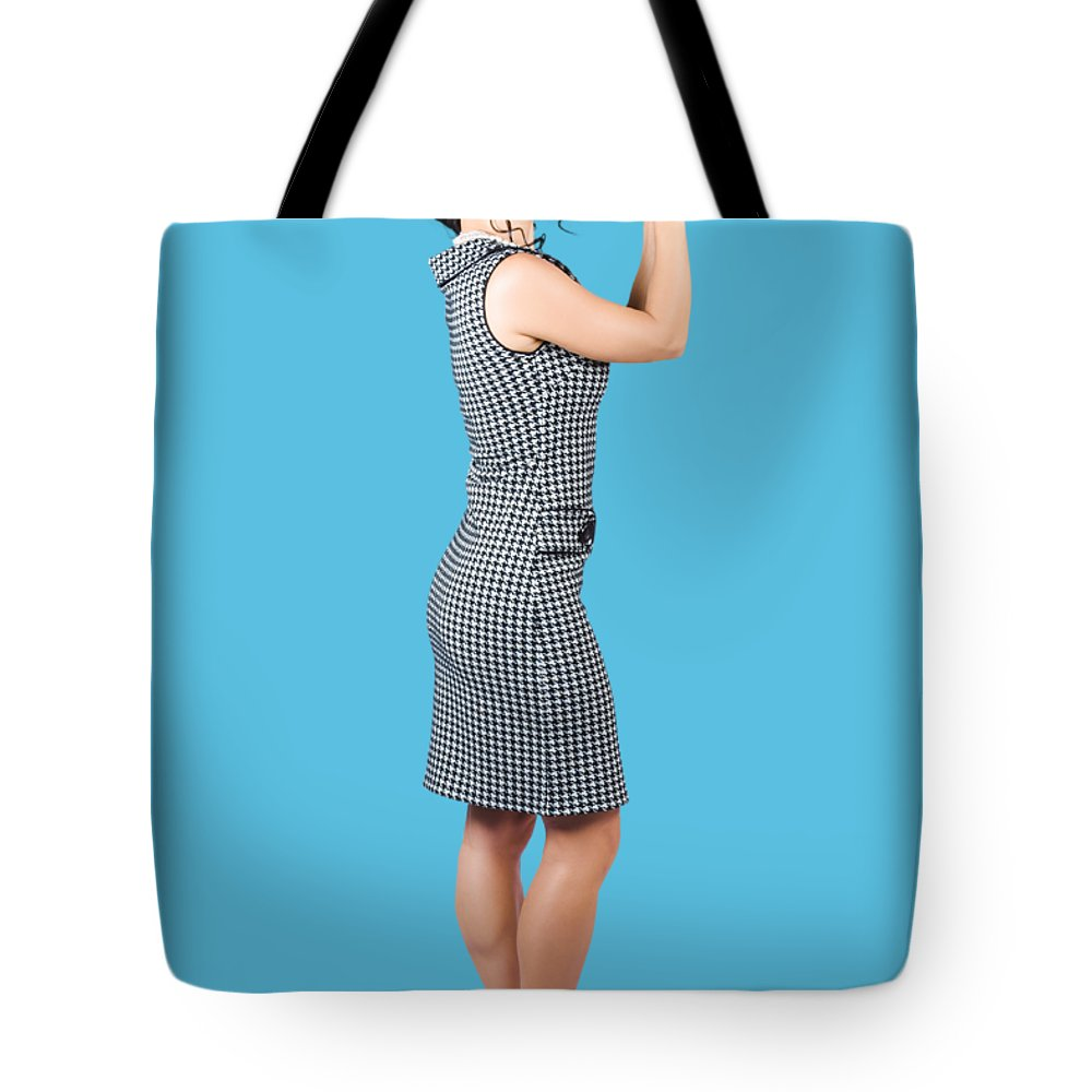 Fashion Tote Bag featuring the photograph Vintage Summer Clothes Woman. Full Length Portrait by Jorgo Photography - Wall Art Gallery