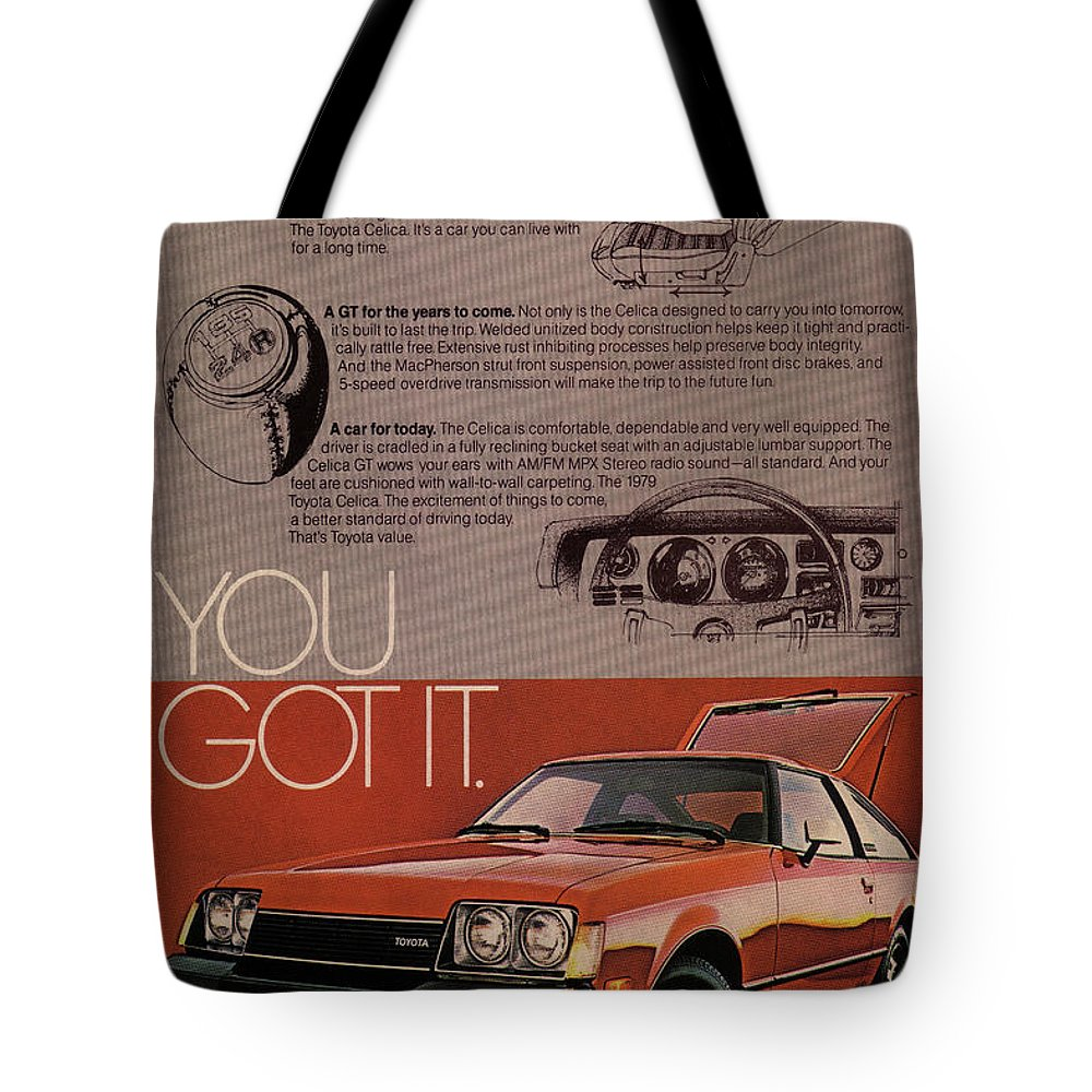 Vintage Tote Bag featuring the mixed media Vintage Toyota Celica Car Poster by Design Turnpike