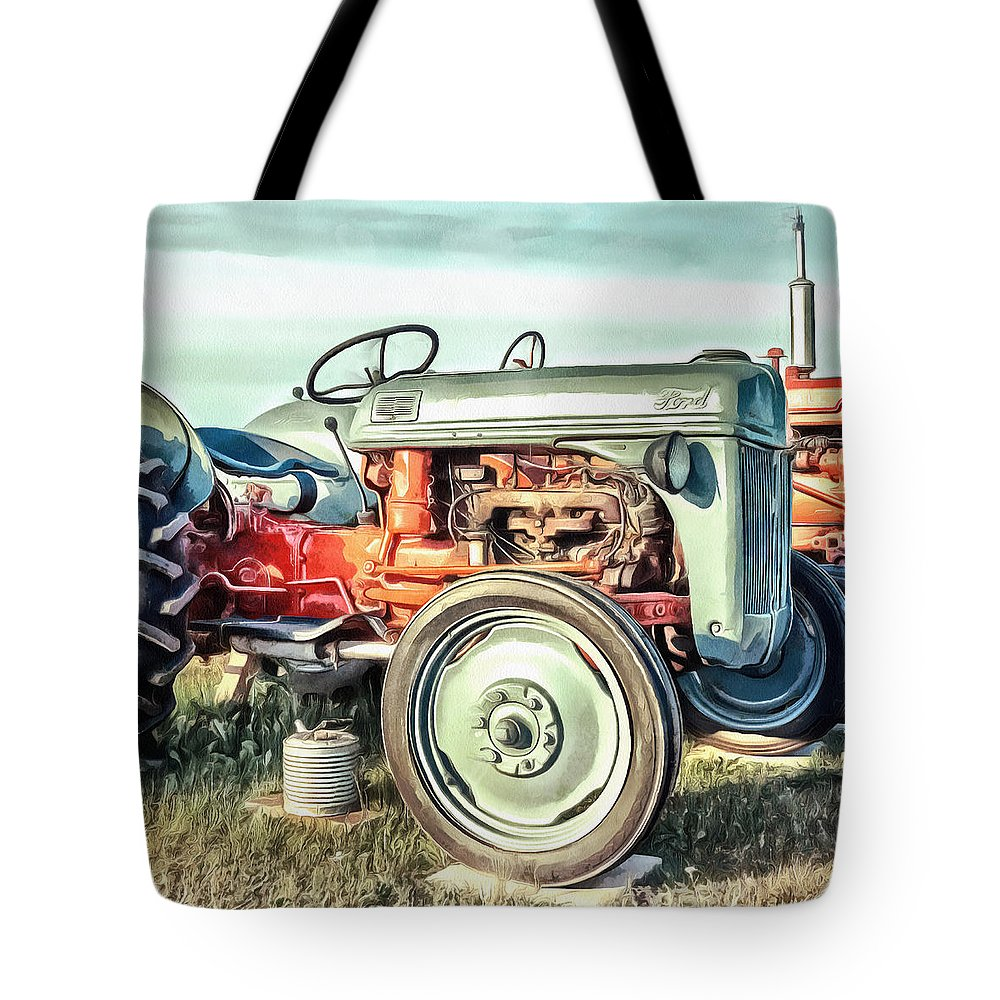 Painting Tote Bag featuring the painting Vintage Tractors Pei Square by Edward Fielding
