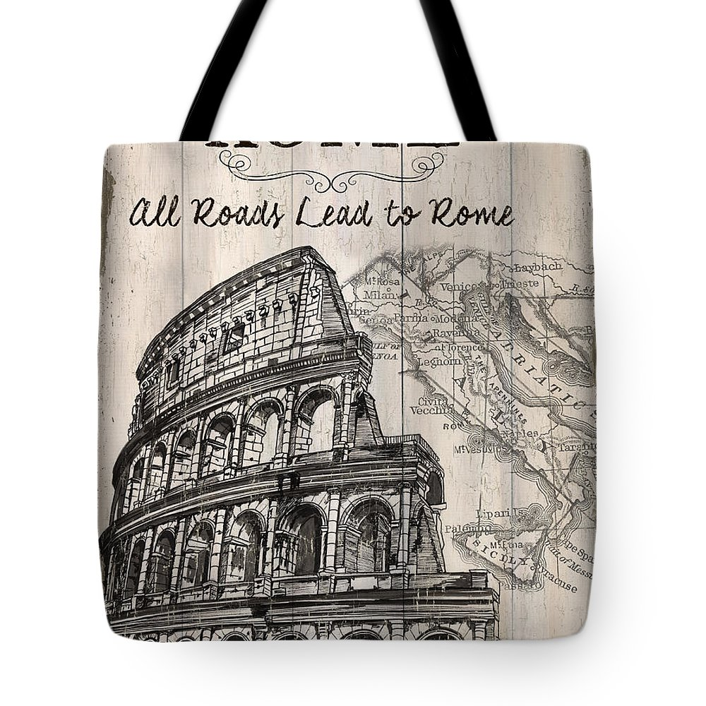 Rome Tote Bag featuring the painting Vintage Travel Poster by Debbie DeWitt