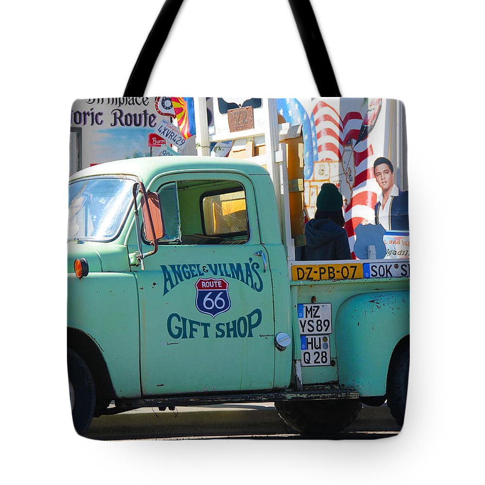 Gift Shop Tote Bag featuring the photograph Vintage Truck with Elvis on Historic Route 66 by Victoria Oldham