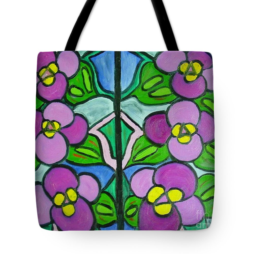 Violets Tote Bag featuring the painting Vintage Violets by Laurie Morgan