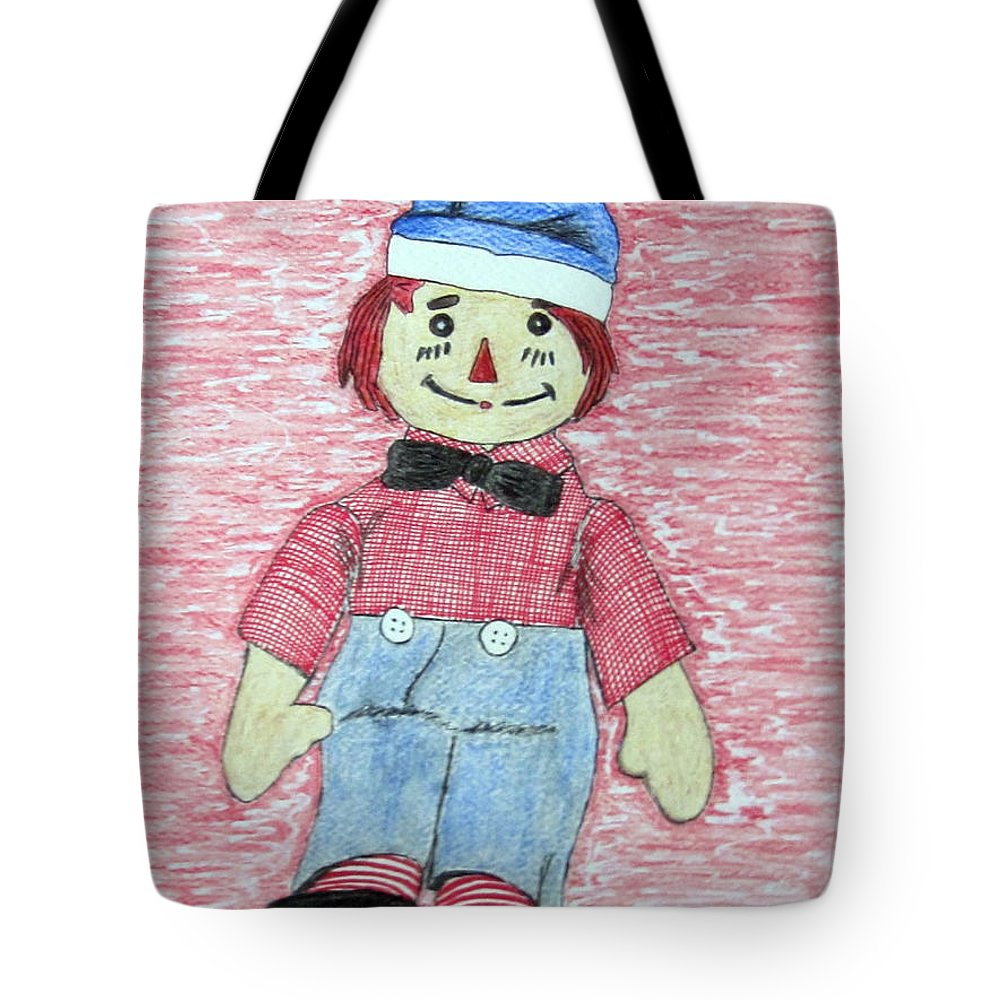 Vintage Tote Bag featuring the painting Vintage Volland Raggedy Andy Cloth Doll by Kathy Marrs Chandler