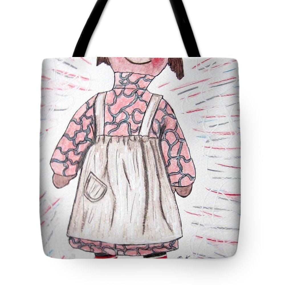 Vintage Tote Bag featuring the painting Vintage Volland Raggedy Ann Cloth Doll by Kathy Marrs Chandler