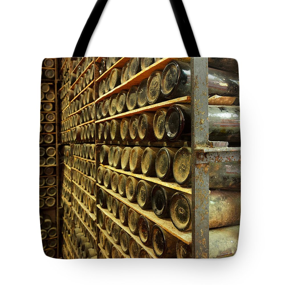 Bottle Tote Bag featuring the photograph Vintage Wine Bottles by Anastasy Yarmolovich