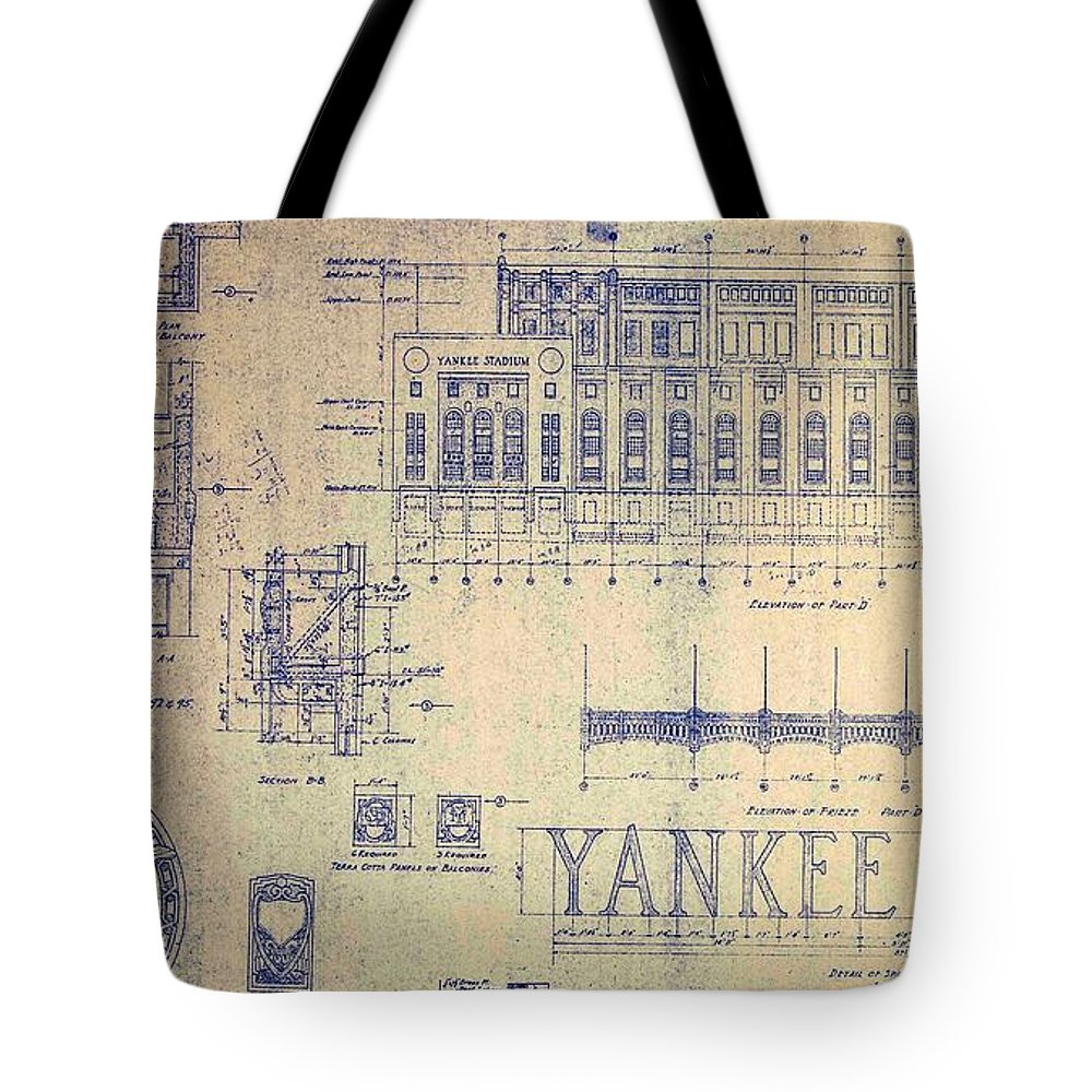 Joe Dimaggio Tote Bag featuring the drawing Vintage Yankee Stadium Blueprint by Peter Ogden Gallery