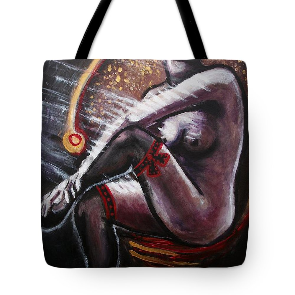 Original Tote Bag featuring the painting Vintage Years-black Stockings by Carmen Tyrrell