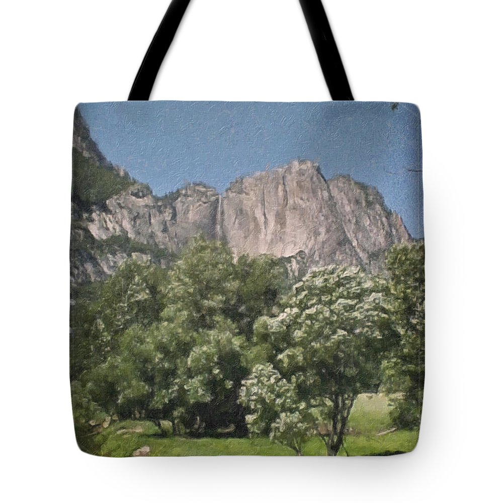 Landscape Tote Bag featuring the painting Vintage Yosemite by Teresa Mucha