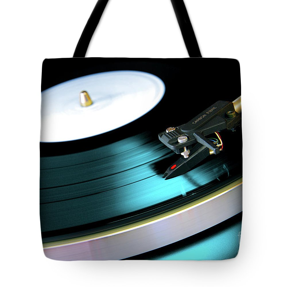 Abstract Tote Bag featuring the photograph Vinyl Record by Carlos Caetano