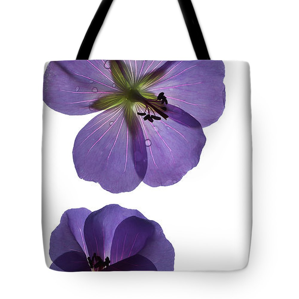 Cranesbill Tote Bag featuring the digital art Violet Cranesbill by Francesca Winspeare